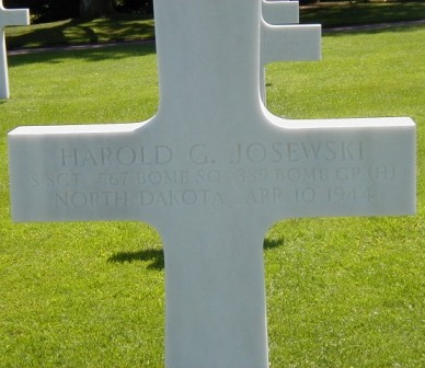 Marker at Omaha American Cemetary for Harold Josewiski